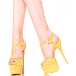 Sandały Damskie Żółte Platformy 4230