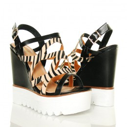 Sandały Koturny Czarne z Sexy Zebrą