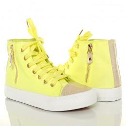 Wysokie Zółte Trampki Złoty Nosek 4346