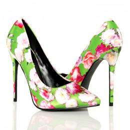 Czółenka - Zielone Satynowe Malowane Kwiaty
