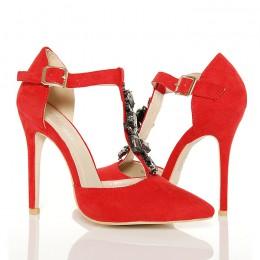 Czółenka - Czerwone Biżuteryjne Kobiece