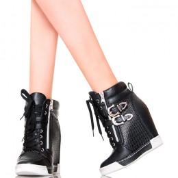 Sneakersy - Czarne Ażurowe ze Srebrnymi Klamrami