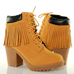 Botki Boho Style Frędzle Wiązane Timberki Camel 4468