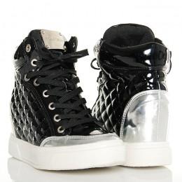 Sneakersy - Czarno Srebrne Pikowane Lakierowane
