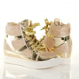 Sneakersy - Złote Brokatowe Trampki Na Koturnie