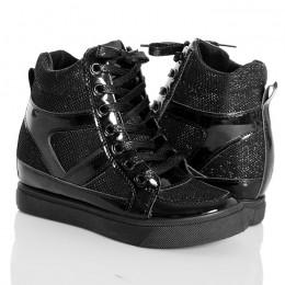 Sneakersy Czarne Brokatowe Trampki Na Koturnie 4756