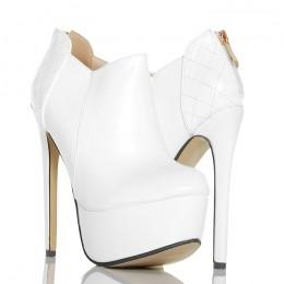 Botki - Sexy Białe Pikowana Pięta Złoty Zamek