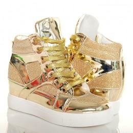 Sneakers'y Złote Lakierowane Błyszczący Brokat 4826