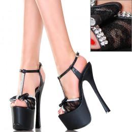 Sandały - GoGo - Czarne z Koronką Cyrkonie