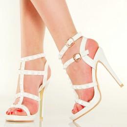 Sandały - Białe Gladiatorki - Paski Duże Ćwieki