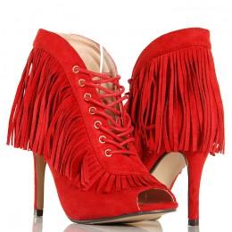 Botki - Czerwone Kobiece Frędzle w Stylu Boho