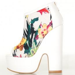 Botki Białe Ekstrawaganckie z Kolorowymi Kwiatami 4850