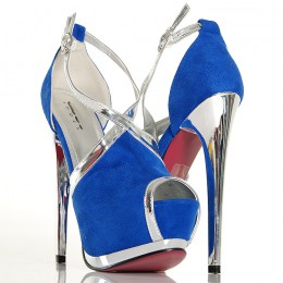 Sandały - Niebieskie Zmysłowe - Srebrne Dodatki