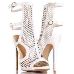 Sandały - Białe Gladiatorki - Siatka Odkryta Pięta