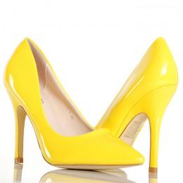 Czółenka - Żółte Lakierowane Klasyczne Szpilki