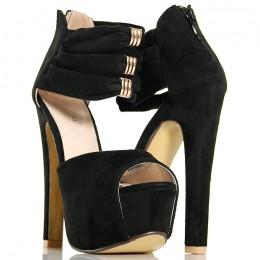 Sandały Czarne Na Zgrabnym Słupku - Złote Blaszki