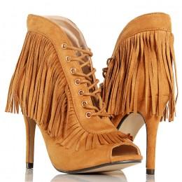 Botki - Rude - Camel Kobiece Frędzle w Stylu Boho 4875