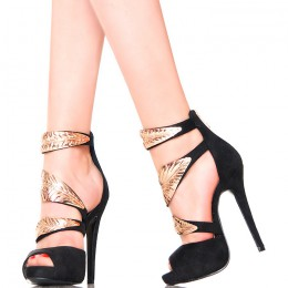 Sandały - Czarne Szpilki ze Złotymi Listkami